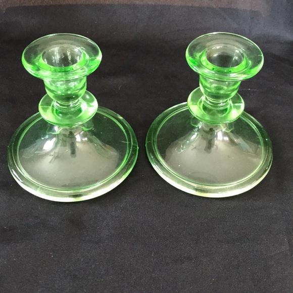 Vintage Green Depression Glass Candlestick Holders